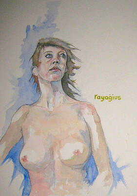 Poster featuring the painting Sketch For Megan V by Ray Agius