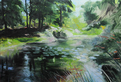 Sketch Of A Pond At Port Meirion Poster by Harry Robertson