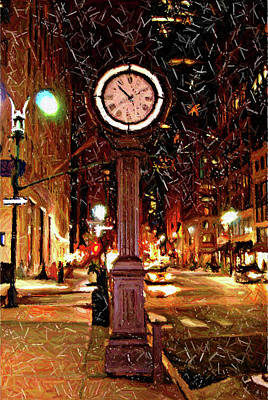 Sketch Of Midtown Clock In The Snow Poster