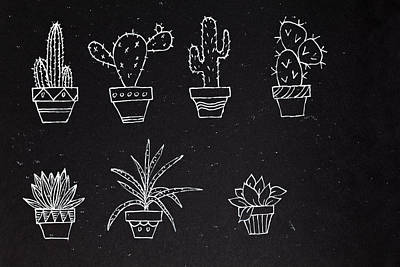 Sketch Of Set Abstract Design Potted Plants Poster by IPolyPhoto Art