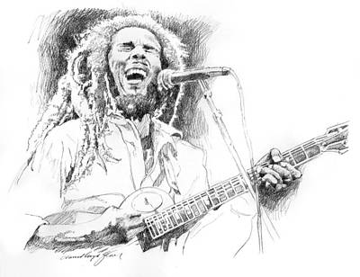Sketches Of Bob Marley Poster by David Lloyd Glover