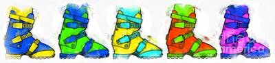 Ski Boots Watercolor Poster