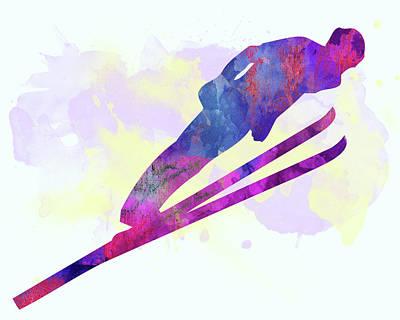 Ski Jumper Poster by Elena Kosvincheva