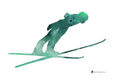 Ski Jumper Minimalist Painting Poster by Joanna Szmerdt