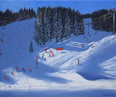 Ski School Morzine Poster by Andrew Macara