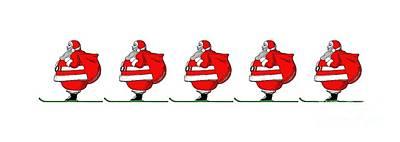 Skiing Santa Claus Mug Poster
