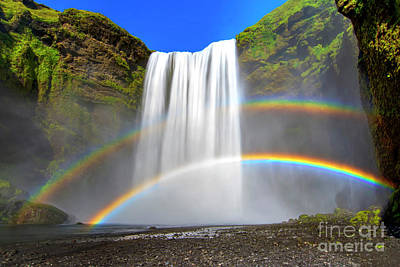 Skogafoss And Double Rainbow Poster