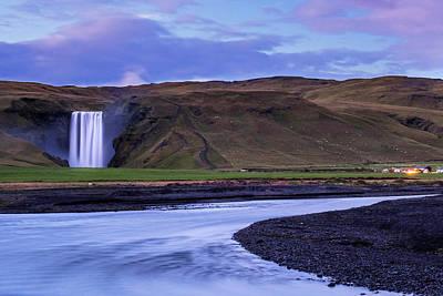 Poster featuring the photograph Skogafoss Dusk Iceland by Brad Scott