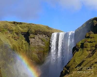 Skogafoss Waterfall With Rainbow 151 Poster