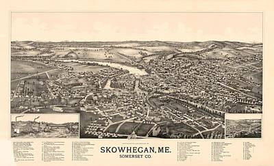 Skowhegan Maine 1892 Poster by Mountain Dreams