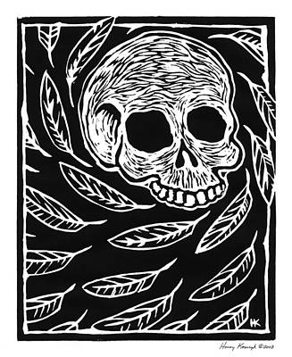 Skull And Feathers Poster by Henry Krauzyk