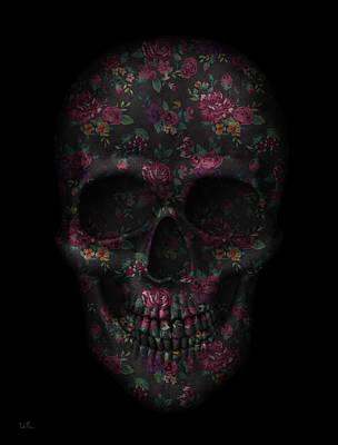 Skull Black Flowers Poster