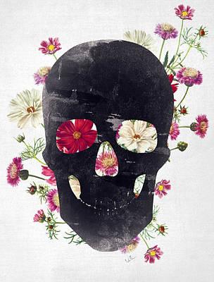 Skull Grunge Flower 2 Poster