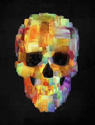 Skull Grunge Paint Black Poster
