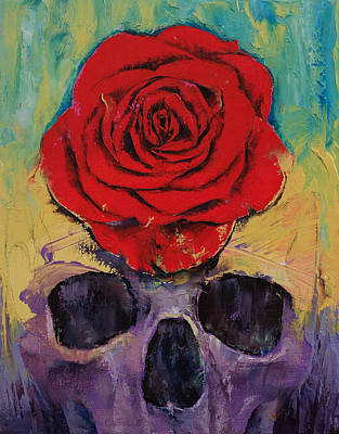 Skull Rose Poster by Michael Creese