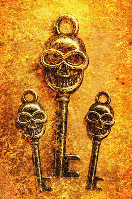 Skull Shaped Keys In Flame Poster by Jorgo Photography - Wall Art Gallery