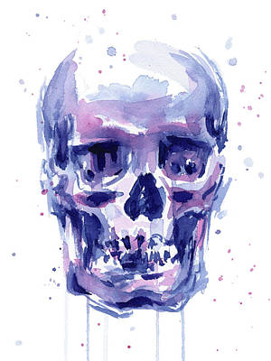 Skull Watercolor Poster by Olga Shvartsur