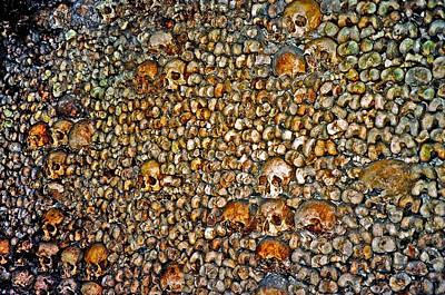 Skulls And Bones Under Paris Poster by Juergen Weiss