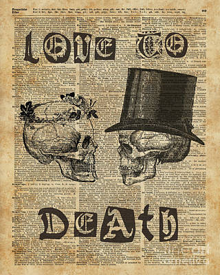 Skulls Love To Death Vintage Dictionary Art Poster