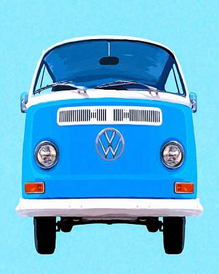 Sky Blue Vw Camper Poster