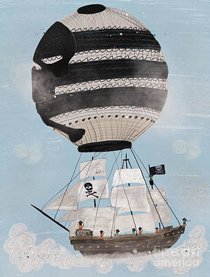 Poster featuring the painting Sky Pirates by Bri B