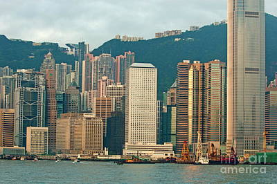 Skyline From Kowloon With Victoria Peak In The Background In Hong Kong Poster by Sami Sarkis
