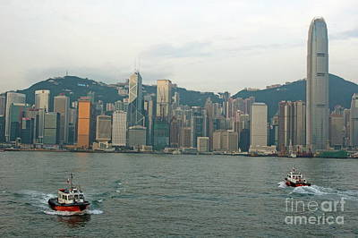 Skyline From Kowloon With Victoria Peak In The Background Poster by Sami Sarkis