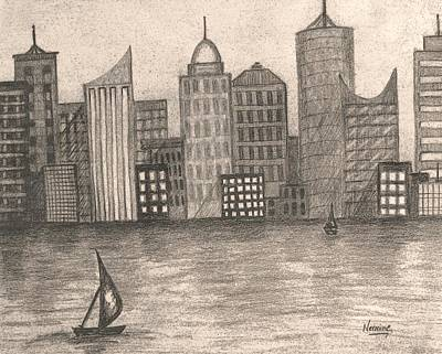 Skyline In Black And White Poster by Nermine Hanna