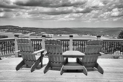 Skyline Lodge Fabius New York Patio View Bw Poster by Thomas Woolworth