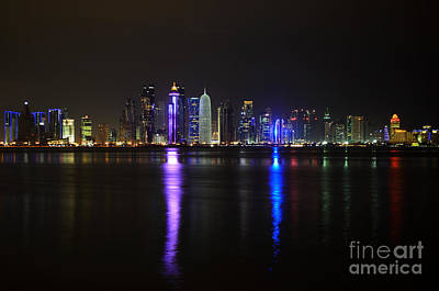 Skyline Of Doha, Qatar At Night Poster