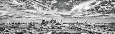 Skyline View Of Dallas  In Black And White Pano Poster