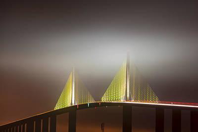 Skyway In Fog Poster by Jon Glaser