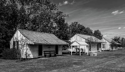 Slave Quarters At Frogmore Plantation  -  Bw Poster