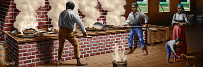 Slaves Refining Sugar Cane Jamaica Train Historical Old South Americana Life  Poster by Walt Curlee