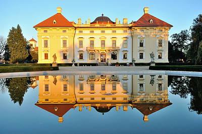 Slavkov Castle Reflected In Water Poster by Martin Capek