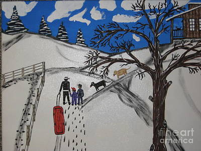Poster featuring the painting Sled Riding by Jeffrey Koss