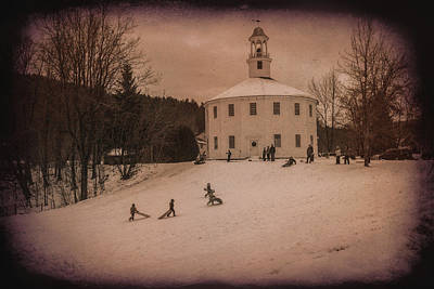 Sledding At The Vermont Round Church Poster by Jeff Folger