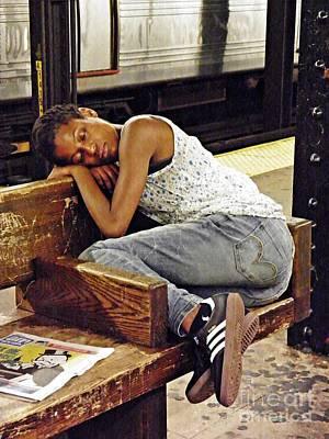 Sleeper On The Platform Poster by Sarah Loft