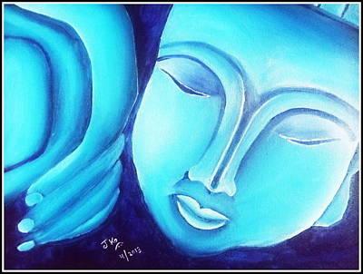 Sleeping Buddha Glow Poster by Jagjeet Kaur