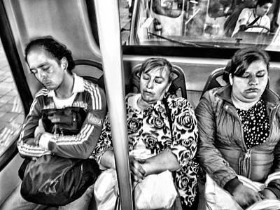Sleeping Bus Riders Poster