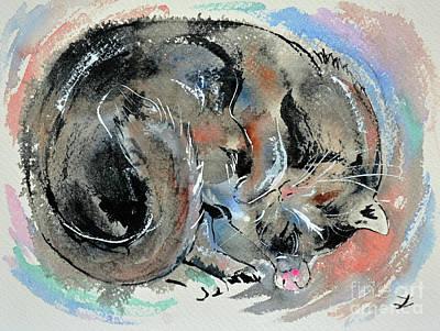 Poster featuring the painting Sleeping Tortoiseshell Cat by Zaira Dzhaubaeva