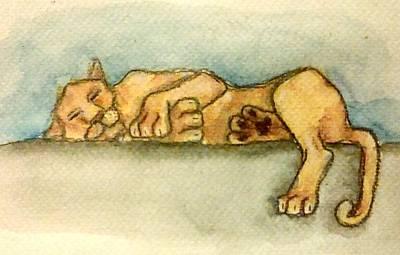 Sleepy Lion Poster by Jennie Hallbrown