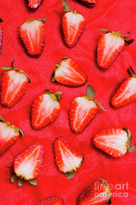 Sliced Red Strawberry Background Poster