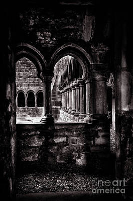 Poster featuring the photograph Sligo Abbey Interior Bw by RicardMN Photography