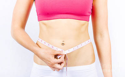 Slimming Woman Holding Tape Measure To Stomach Poster