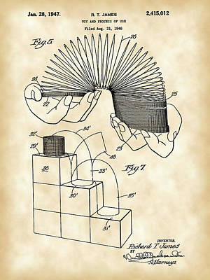 Slinky Patent 1946 - Vintage Poster