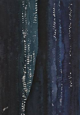 Slot Canyon In Moonlight Original Painting Poster by Sol Luckman