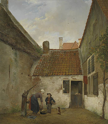 Small Courtyard Poster by Andreas Schelfhout