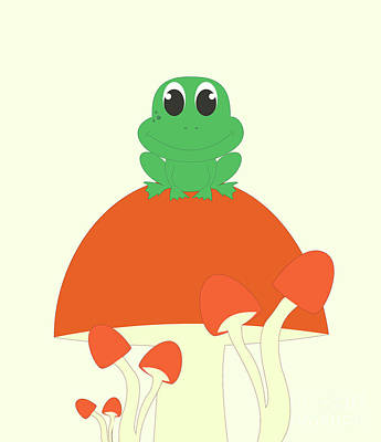 Small Frog Sitting On A Mushroom  Poster by Kourai