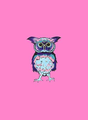 Small Owl Pink Poster